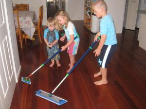 My kids mopping...