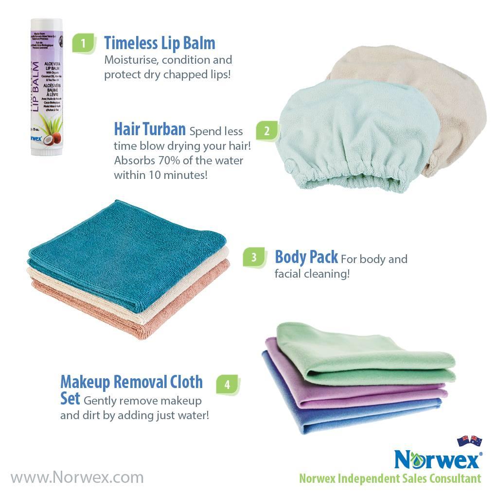 lip balm hair turban body pack and make up cloths