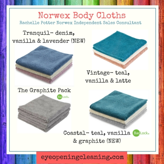 Norwex body cloths different colours with name